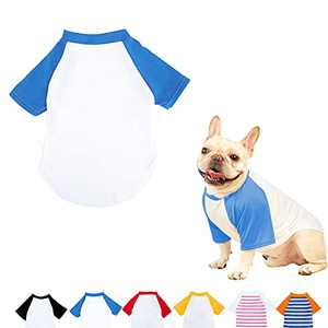Dog Summer Clothes for Small Dog, Breathable Stretchy Dog Raglan Shirt, Soft Comfortable Cat Puppy Kitten Pet Apparel Outfits (Blue&White, M[Weight(4-6lb) Chest(~14.5in'')])