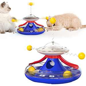 Pet Food Dispenser for Cat&Dog Slow Feeder Turntable Toy, Puzzle Pet Toys Dispensing Food Canister Indoor&Outdoor Cats Dogs Exercise Puzzle Interactive Toys,Pet Slow Feeder Turntable Toy (Blue)