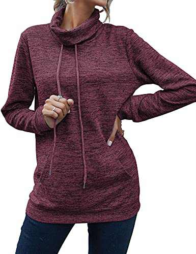 Sweatshirts for Women Casual Long Sleeves Hoodie Cowl Neck Pullover Drawstring Tunic Tops with Pocket Wine Red Medium