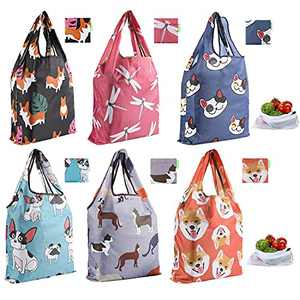 Oriveegyo Reusable Grocery Bags 6 Pack Foldable Shopping Bags Lightweight with Pouch Machine Washable With 2 Mesh Vegetable Bags
