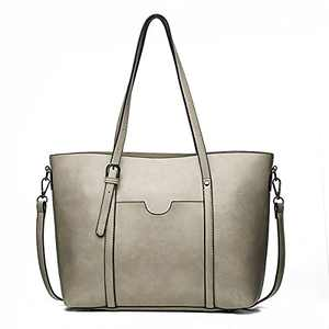 Tote Bag for Women Soft Faux Leather Handbags Purses Large Shoulder Bags Ladies Fashion Daily Totes Grey