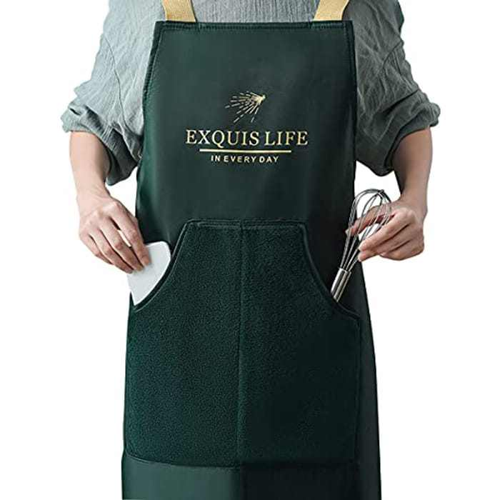 Aprons for Kitchen, OKYUK Apron for Women and Men,Waterproof and Oil-Proof Professional Aprons with 2 Wipeable Pockets,for Home Kitchen Restaurant Cafe Gardening Baking Painting Maintenance Work
