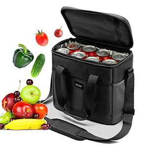 Adult Lunch Bag, Insulated Lunch Box for Men & Women,15L Large Picnic time Lunch Bag with Adjustable Shoulder Strap,Leakproof 16 can Cooler Bag with Side Pockets and Water Bottle Holder,Black