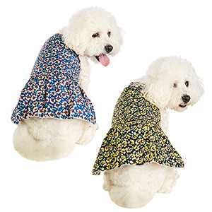 2 Pieces Dog Dress for Girl Small Dogs Fashion Pet Dog Clothes Lovely Puppy Dress Cute Dog Dress for Pet Clothes Birthday Party Colorful Petal Pattern Dog Dress Shirt Vest Sundress