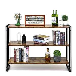 HOFLERA 3-Tier Stand Plant Stand 3-Tire Wood Bookshelves with Metal Frame, Bookcase Home Office Storage Rack, Office Documents Display Storage & Bookcase,Heavy Duty Style,120*78*30cm,Brown
