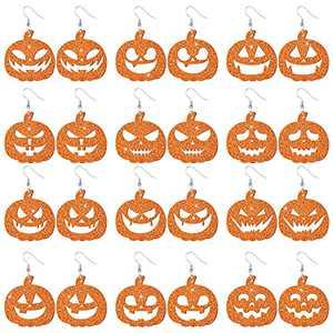 Ferreve 12 Pairs Halloween Pumpkin Leather Earrings Smiling Face Pumpkin Drop Earrings Faux Leather Halloween Dangle Earrings Set for Women Girls
