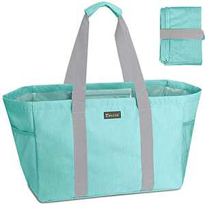 BALEINE Soft Extra Large Utility Tote, Foldable Bag for Storage Laundry Pool, Sea Green