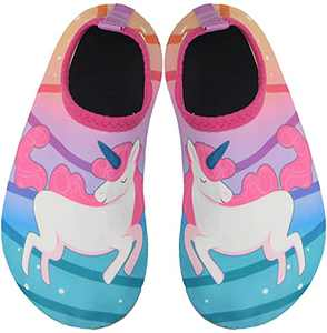 BomKinta Kids Water Shoes Boys Girls Quick Dry Non-Slip Aqua Socks for Beach Swimming Pool Pink Green Size 8-8.5 M US Toddler