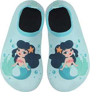 BomKinta Kids Water Shoes Boys Girls Quick Dry Non-Slip Aqua Socks for Beach Swimming Pool Light Green Size 11-11.5 M US Little Kid
