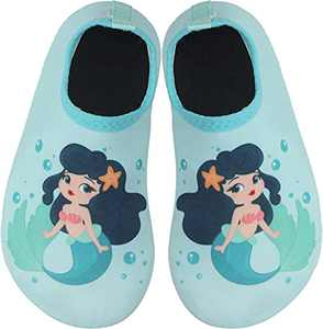 BomKinta Kids Water Shoes Boys Girls Quick Dry Non-Slip Aqua Socks for Beach Swimming Pool Light Green Size 3.5-4 M US Big Kid
