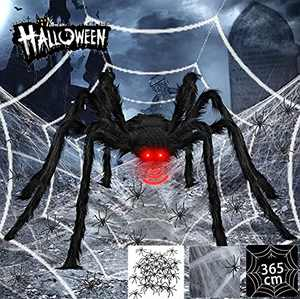 Halloween Spider Decorations Outdoor-4.1ft Giant Scary Spider+12ft Spider Web+Stretch Spiders Cobweb+20 Small Plastic Spiders-with Red Glowing LED Eyes and Spooky Sound for Halloween Yard Lawn Decor