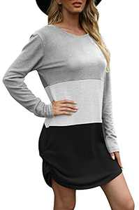 NANYUAYA Womens Long Sleeve Tshirt Dresses Color Block Twist Side Knot Mini Dress