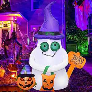 FROGBRO 5 Ft Halloween Inflatable Ghost with The Pumpkin and Hammer Outdoor Decoration with Built in LEDs,Halloween Blow Up Inflatable Decor for Indoor, Yard, Garden Lawn Decoration