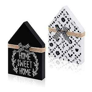 Zingoetrie Home Sweet Home House Shaped Wood Signs Wood Block House Mini Wooden House Home Decor Farmhouse Tiered Tray Signs Sayings Gift Ideas for Birthday Housewarming Christmas