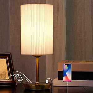 Touch Table Lamp for Bedroom - JIAWEN 3-Way Dimmable Bedside Lamp with USB Ports, Modern Nightstand Lamp with Hand-pleated White Shade for Bedroom,Living Room,Kids Room,Dorm,Office Desk(Bulb Included)