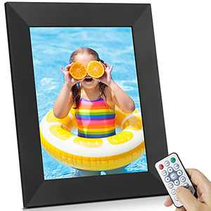 BSIMB Digital Picture Frame IPS Display, Wall-Mountable Electric Photo Frame with Remote Control, Place in Landscape&Portrait, Gift for Grandparents