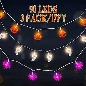 Garma Halloween Lights Decoration Indoor Outdoor Lighting Decor Pumpkin Bat Ghost String Lights Led Decorations Lights 3Pack with USB Operated, 30 LED String Lights for Party Supplies