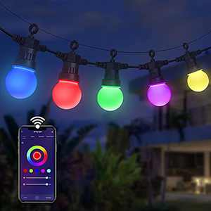 48ft Smart Outdoor String Light, Wi-Fi Control 15 Bulbs, Dorfly Color Changing LED Patio Light Work with Alexa, Water-Resistant Shatterproof Dimmable Lamp Music Sync for Party Wedding Decor