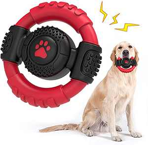Dog Chew Toys for Aggressive Chewers, Non-Toxic Rubber Tough Dog Toys Dog Squeaky Toys 100% Pure Natural Rubber Indestructible Dog Toys with Milk Flavor for Large/Medium Breed