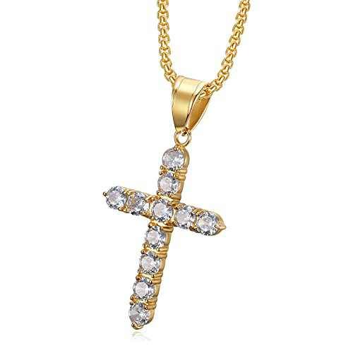 Cross Necklace for Women, Mens 18K Gold Plated Stainless Steel Cross Pendant Necklace for Women Box Chain 24 Inch