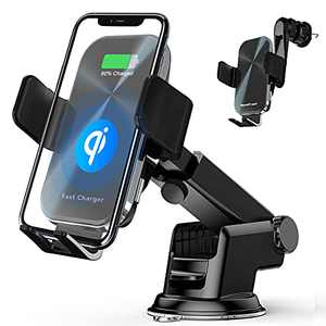 Wireless Car Charger, Phone Holder for Car 15W Qi Fast Charging Air Vent& Dashboard Car Phone Holder Mount Compatible with iPhone 12 pro/12/11 Series, Samsung Galaxy
