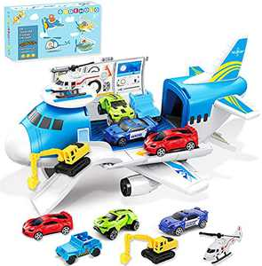GUDEHOLO Airplane Toy, Transport Cargo Car Toy Play Set for 3 4 5 Year Old Boy and Girls, Take Apart Plane Aeroplane Toys, Gift for Kids