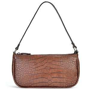 Retro Classic Clutch Shoulder Bag for Women Vegan Leather Croc Small Purse with Zipper Closure (Brown Vegan)