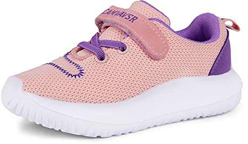 CAMVAVSR Toddler Girls Athletic Shoes Kids Boys Cool Sport Tennis Sneakers for Slip On Running Walking Breathable Summer Shoes Pink Purple Size 8.5 M US Toddler Kid