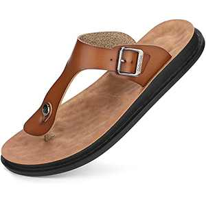 Men's Flip-Flops Comfort Thong Sandals with Arch Support for Indoor and Outdoor BeachKhaki 44