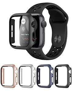 4 Pack Hard PC Watch Case with Tempered Glass Screen Protector Compatible with Apple Watch SE Series 6 Series 5 Series 4 44mm(Black/Rose Gold/Silver/Navy Blue)