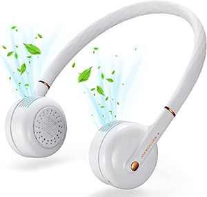 Portable Neck Fan, Wearable Personal Fan, Leafless, Rechargeable, Headphone Design, USB Powered Desk Fan,3 Speeds (White-2)