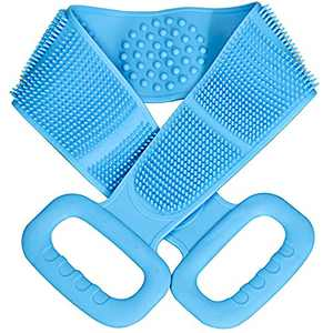 Back Scrubber for Shower, Exfoliating Lengthen Silicone Body Back Scrubber, Comfortable Massage for Shower,Blue