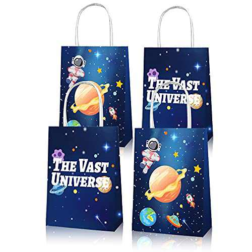 Radosnya 12PCS Space Party Bags with Handles, Cute Party Favor Gift Bag for Kids, Galaxy Treat Bags, Paper Candy Bags for Birthday Party Supplies