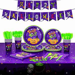 Halloween Plates and Napkins for Kids, Cute Halloween Party Supplies for 16, Tablecloth, Banner, Party Plates, Cups, Napkins and Utensils Included for Halloween Birthday Decorations, Total 114PCS
