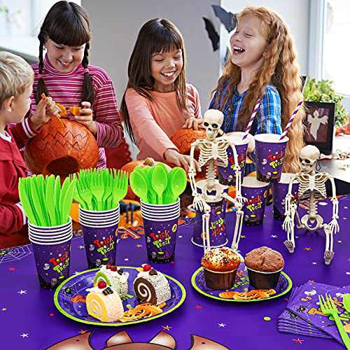 194PCS Halloween Party Supplies, Cute Halloween Party Decorations for Kids, Serves 24, Complete Pack Includes Birthday Plates and Napkins, Cups, Halloween Tablecloth, Banner and Utensils