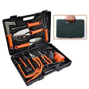 WADDK Gardening Tools, Gardening Tools Kit with Case,12 Pcs Heavy Duty Gardening Tool Set with Carrying Box,Ergonomic Hand Tools with Non-Slip Rubber Grip Rake/Shovel/Trowel/Sprayer
