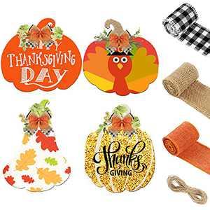 7 Pieces Wooden Pumpkin Cutout Set Fall Craft Supplies 4 Pieces Wood Cutouts for Crafts for DIY Craft Halloween Fall Party Supply