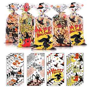 120PCS Halloween Cellophane Bags, Cute Halloween Treat Bags for Kids, Small Candy Bags Bulk with Twist Ties, Clear Goodie Gift Bag for Halloween Party Favor