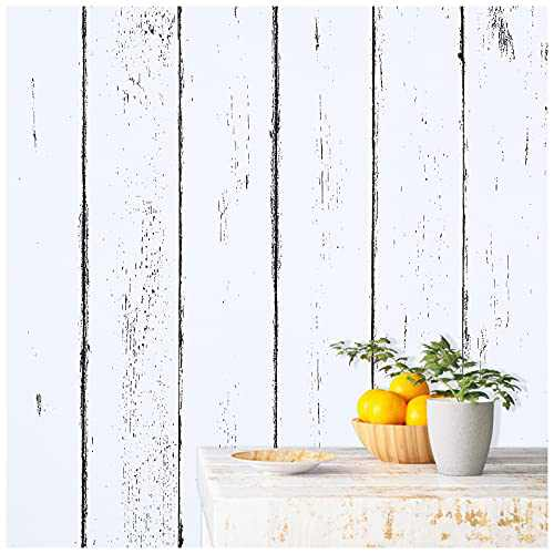 SUNBABY White Wood Wallpaper Self-Adhesive Wallpaper Removable Wallpaper Peel and Stick Wallpaper for Decorative Kitchen Worktop Furniture Surfaces 11.81'' X 78.74''