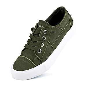 JENN ARDOR Women Slip On Sneakers Classic Low Top Canvas Shoes Causal Comfortable Walking Flats