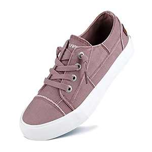 JENN ARDOR Women Slip On Sneakers Classic Low Top Canvas Shoes Causal Comfortable Walking Flats Pink