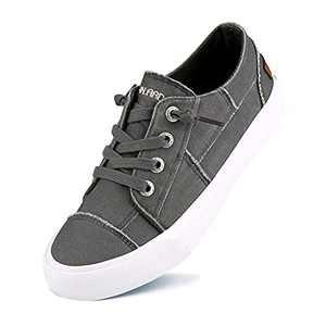 JENN ARDOR Women Slip On Sneakers Classic Low Top Canvas Shoes Causal Comfortable Walking Flats Grey