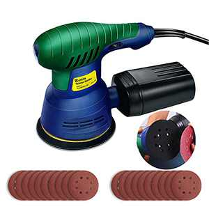 Random Orbit Sander Rumia, 2.5A(350W)/13000 RPM Orbital Sanders with 20 Pieces Sandpapers,Electric Orbit Sanders for Woodworking with Dust Collection and 6 Gear Switches - OS01A