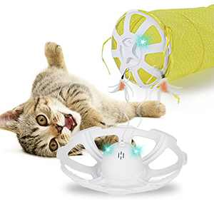 BENTOPAL Interactive Cat Toy Cat Tunnel with Automatic Rotating Feather Tails, Bird Singing (Electric Tunnel)