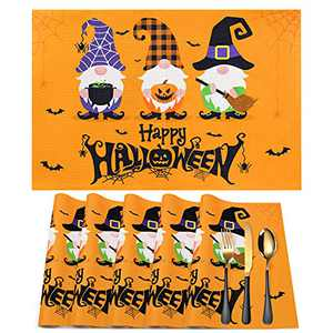 Halloween Placemats for Dining Table,12 x 18 Inch with Halloween Table Mats,Witch Gnome Pumpkin Jack-O-Lanterns Orange Table Decorations Washable Linen Heat Resistant Place Mat for Kitchen Set of 6