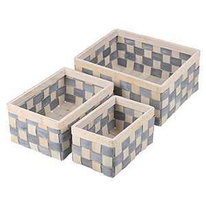 UHSTORAGE Wood Weave Basket, Oversized Hand Woven Basket, Shelf Baskets, Home Storage Basket Organizer, for Kitchen, Bathroom, Bedroom, Living Room, Office, Set of 3 Blue and Beige