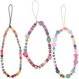 Beaded Phone Charm Strap Y2K Phone Decoration Lanyard Rainbow Smile Letter Fruit Pearl Polymer Clay Beads Phone Wrist Strap Lanyard Anti-lost Phone Chain Y2K Accessory for Women Girls