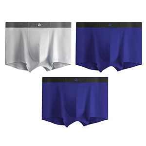 Men's Seamless Underwear Ultra Stretch Tagless Trunks Underwear Soft and Comfortable Cotton Boxer Brief,3 Pack Breathable Boxers(Off-white/Night Blue/Night Blue, X-Large)