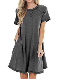 Women's Summer Casual T Shirt Dress V-Notch Crew Neck Swing Dress with Pockets Dark Grey
