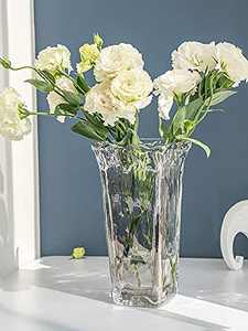 Clear Vase Thickened Glass Vase 9.45inch Flower Vase for Home Decor Wedding Office Tabletop or Gift (Clear)